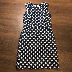 Ann Taylor Blue Printed Sleeveless Sheath Dress 6